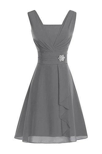 da abiti da Secret per al donna ginocchio Abito in Grigio Chiffon castello elegante U32 abiti da sera donna nOq7OXx