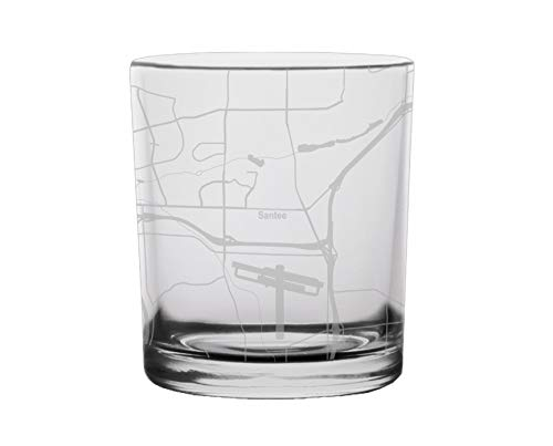 Santee City Map Whiskey Glass California -