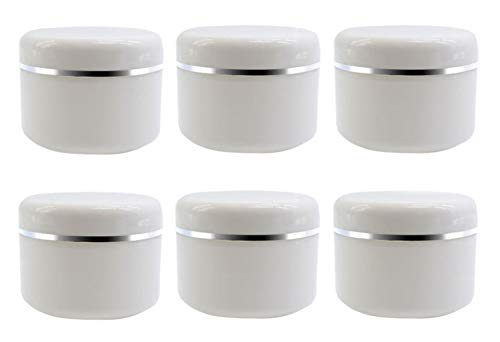 8 Oz (250ml) White Plastic Cosmetic Jars with Inner Liners and Dome Lids Refillable Make-up Cosmetic Containers Pot Case for Scrubs Oils Salves Creams Lip Balm Lotions Nail Accessories Pack of 6