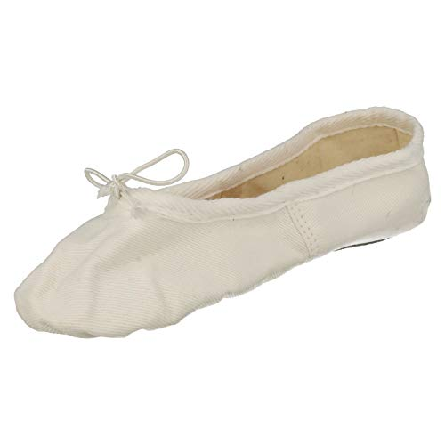 Soft Ballet Shoes Spot Childrens Canvas On Sole White npwagYx