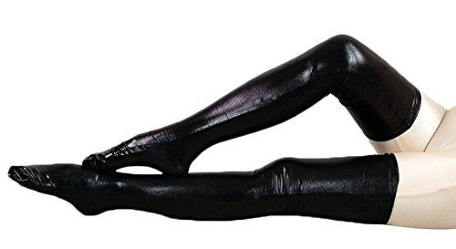 VSVO Women's Shiny Metallic Spandex Skintight Stocking (24in, Black) (Shiny Black Bodysuit)
