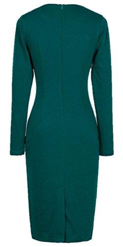 Maniche Elegante Quadrato Vestito Turchese Donna Collo Homeyee Lunghe Ukb10 pa5Itnqwwx
