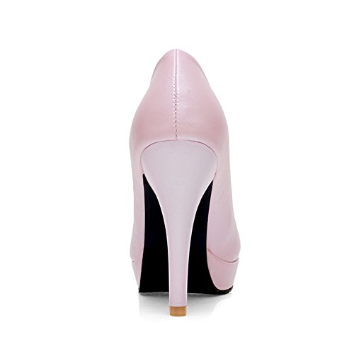 Amoonyfashion Ronde Gesloten Teen Dames Pull Op Pu Solide Spikes Stiletto Pumps-schoenen Roze