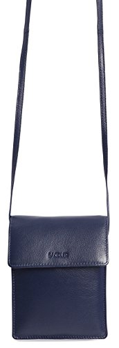 SADDLER Leather Cross Body Travel Passport Pouch - Card Holder - Peacoat Blue by Saddler (Image #2)