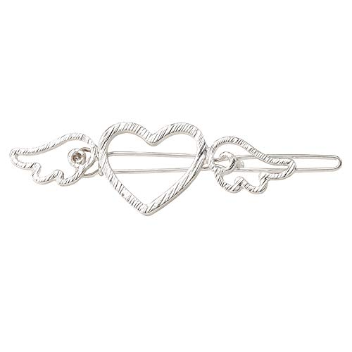 whatBYDs Wedding Hair Pin for Bridal 2Pcs Vintage Hollow Heart Angel Wing Hair Clip Alloy Barrette - Silver