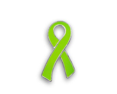 50 Lime Green Ribbon Awareness Pins - Large Flat (Wholesale Pack - 50 Pins) (Sterling Ribbon Silver Pin Awareness)