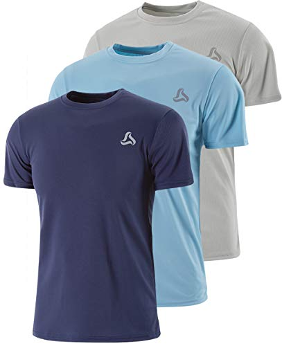 SILKWORLD Men's 3 Pack Mesh Quick-Dry Short Sleeve Workout Shirt,Navy Blue, Grey, Light Blue, Large ()