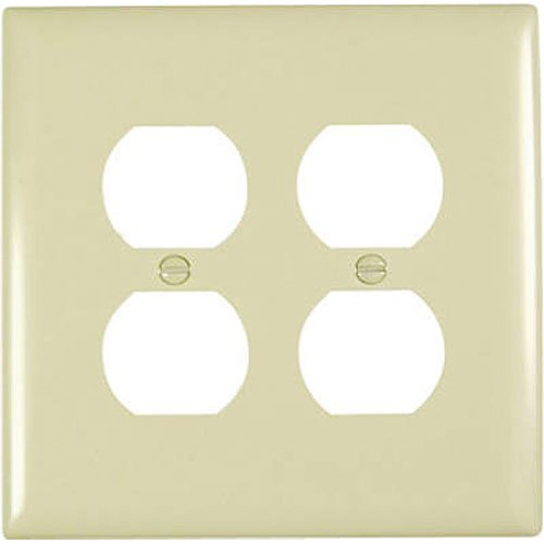 Pass & Seymour TPJ82ICC10 2 Gang Double Duplex Outlet Opening Wall Plate, Nylon, Ivory