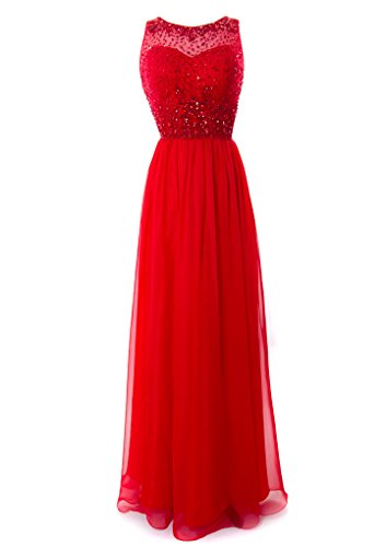 Fiesta Formals Long Chiffon Evening Gown with Gems on an Illusion Neckline - Red - XS