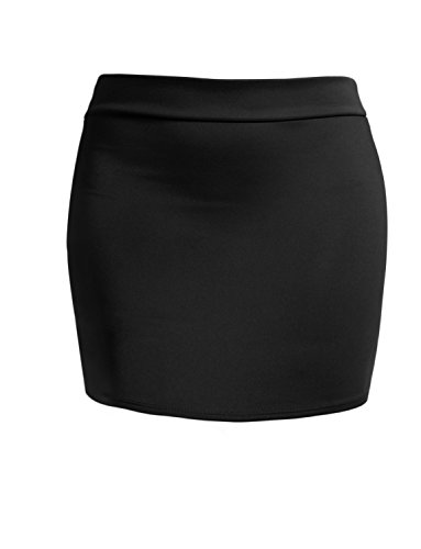 J. LOVNY Women's Double Layered Stretch Bodycon Mini Pencil Skirt Made In USA , Jlwsk09-black, Large Bodycon Club Skirt