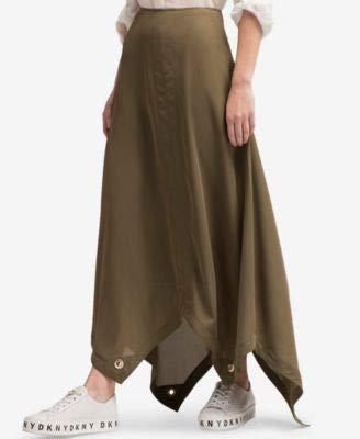 - DKNY Womens Grommet Trim Asymmetric Maxi Skirt Green 2