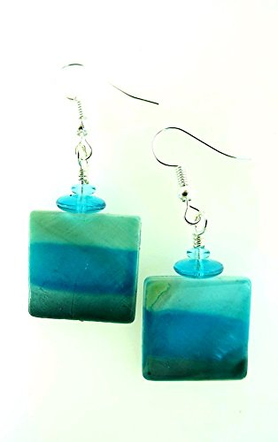 Teal Blue Shell Square Dangle Earrings Painted Ombre Stripes -