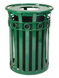 Decorative Steel Trash Receptacle with Flat Top Lid in Green (Ash Urn Lid/Green) Flat Ash Top Receptacle