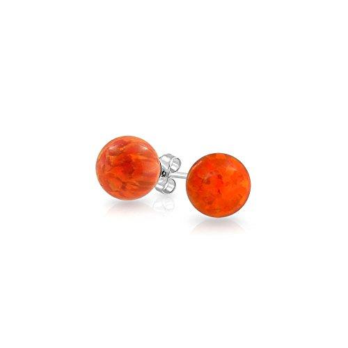 (Created Blue Opal Ball Stud Earrings For Women 925 Sterling Silver 6mm October Birthstone)
