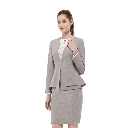 Women Business Suit Set for Office Lady Two Pieces Slim Work Blazer & Skirt (Pale Mauve, 2)