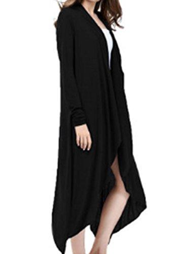 La Mujer Elegante Frontal Abierto Shawl Collar Sweater Cardigan Sweaters De Punto De Manga Larga Chaqueta Outwear Black