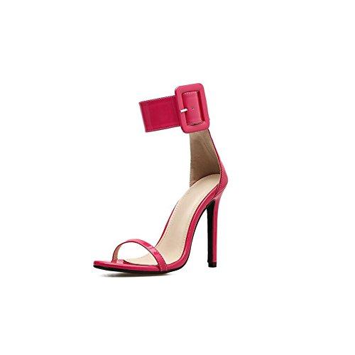 Zapatos de Mujer 2018 Summer New Hebilla Hueca Sandalias de Mujer Europa y América 40 Zapatos de Punta Abierta de Gran tamaño Ladies Fine Heel Sandalias de Punta Abierta (Color : Black, tamaño : 40) Rose Red