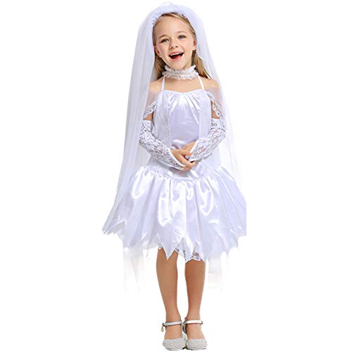 LOLANTA Girls Bride Dress Kids Halloween Scary Dead Ghost Bride Costume with Veil (4T-4) ()