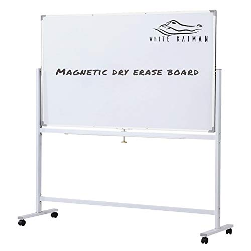 White Kaiman Dry Erase Magnetic Whiteboard w/Stand - Double Sided Reversible Marker Board, Mobile Metal Stand w/ 4 Locking Wheels - Accessories Included One Marker, Eraser and 3 Magnets (48