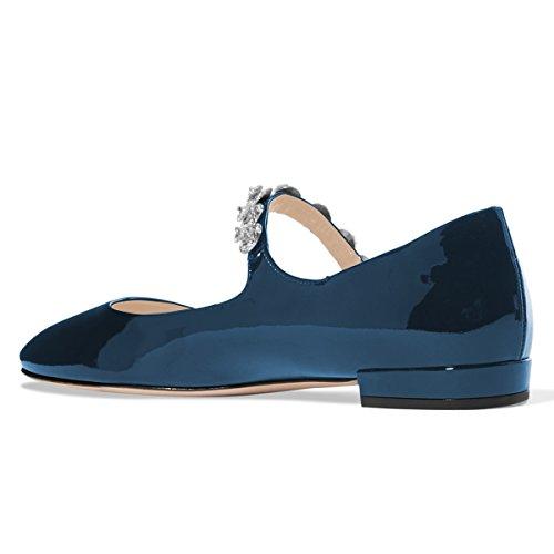 XYD Women Comfort Round Toe Marry Jane Ballet Flats Rhinestone Studded Low Heel Dress Shoes Steel Blue free shipping release dates visit new online cheap best prices V3snpwAj1