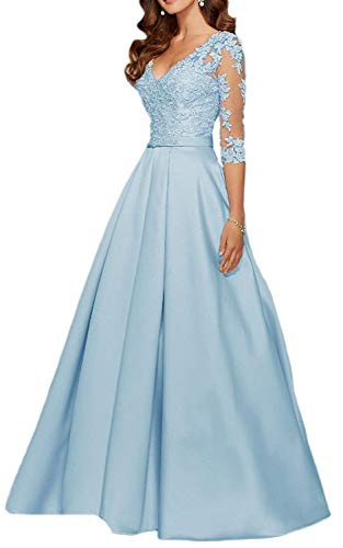yuanbaokj Ladies Beaded Formal Gowns Satin Evening Dresses Floor Length V Neck 3/4 Sleeves Long Dress Light Blue