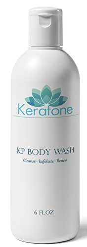 Keratone KP Body Wash 6 oz - Reduces Keratosis Pilaris Red Bumps, 10% Glycolic Acid Exfoliates Deeply For Smoother Skin, Fragrance Free, Gentle On Your Skin Without Harsh Irritating Ingredients (Keratosis Pilaris Glycolic Acid)
