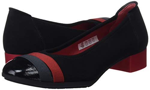 black Women''s Black Sabrinas Atlanta Closed Ballet gris 014 rojo Toe Flats Hq0qd