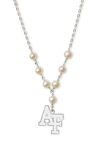 College Jewelry Air Force Academy Falcons Tin Cup Cultured Freshwater Pearl Charm Necklace