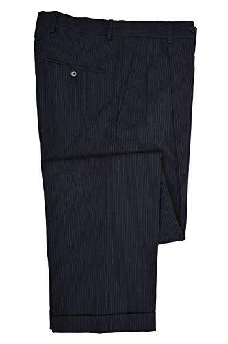 Brooks Brothers Mens Pleated Stretch 346 Cuffed Hem Dress Pants Navy Blue Pinstriped (31W x 31L)