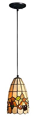 Handcrafted Tiffany Style Pendant Lamp Shade Diameter 6 inch, Base Height 52 inch