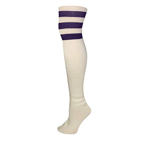 AJs Retro Thigh High Tube Socks - White, ()