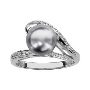 1001 Bijoux - Bague argent rhodié perle grise et oxydes blancs sertis