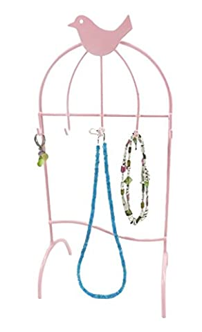 Bird Cage Jewelry Tree Hanger Tower Organizer Display Stand Necklaces Bracelets Earrings Pink - Hagerty Table