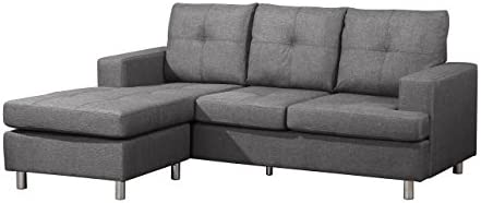 Astounding Container Furniture Direct S0102 Fancy Linen Upholstered Contemporary Reversible Sectional Sofa 76 5 Grey Inzonedesignstudio Interior Chair Design Inzonedesignstudiocom
