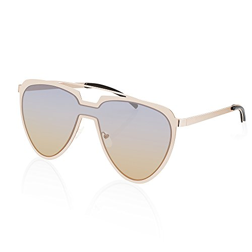 TWING Modern Fashion Flat Top Metal Aviator Aolor Lens Sunglasses AV-1548-OC - Korean Sunglasses