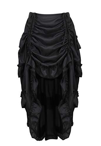 frawirshau Women's Steampunk Show Girl High Low Skirt with Ruffle Pirate Costume Black XL/2XL]()
