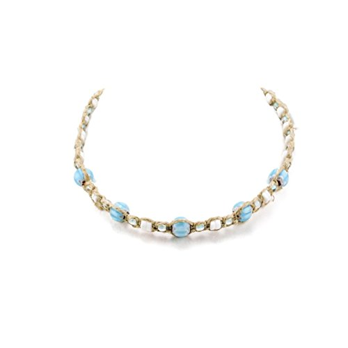 (Hemp Choker Necklace With Puka Clam Shell Beads and Light Blue Glass Beads)