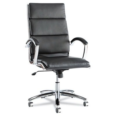 Alera Neratoli High-Back Swivel/Tilt Chair, Black Soft-Touch Leather by Alera