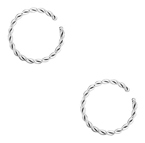 Forbidden Body Jewelry Set of 16G 8mm (5/16 Inch) Surgical Steel Braided Hoop Rings