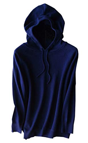 Women's Cashmere Hoodie Sweater, Long Sleeves Solid Hooded Pullover Knitted Knitwear Tops, Navy, US L(12) = Tag XXL