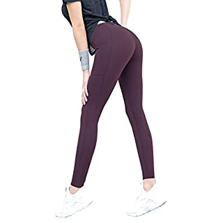 Bonim Yoga Pants with Pockets for Women, High Waist Tummy Control Full-Length Leggings Tight Sports Compression Pants Dark Purple X-Large