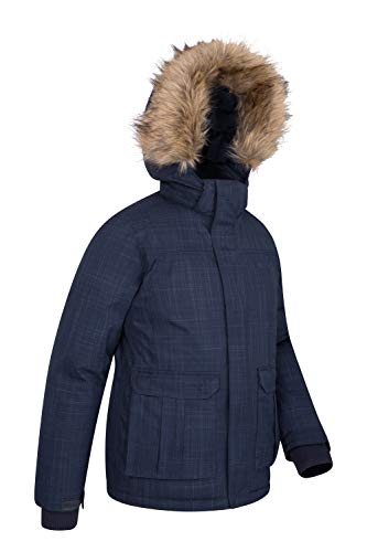 Antarctic Breathable Kids Padded Youth Warehouse Waterproof in Ideal Coat Navy Fur Trim Down Hoodie Cold Weather for Mountain Camping Faux Taped Jacket Seams 0x8E5qqw