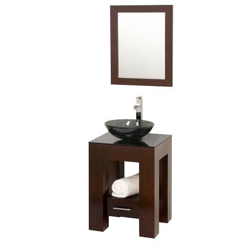 Wyndham Collection Amanda 22 inch Single Bathroom Vanity in Espresso, Smoke Glass Countertop, Smoke Glass Sink, and 22 inch Mirror