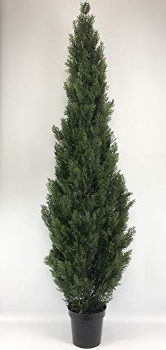 One 7 Foot Outdoor Artificial Cedar Topiary Tree UV Rated One Piece Construction by Silk Tree Warehouse