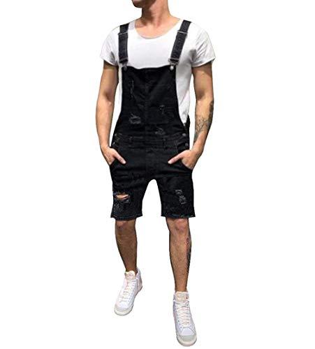 (lisenraIn Men's Denim Bib Overalls Fashion Ripped Jeans Slim Jumpsuit with Pockets (Black-Shortalls, M))