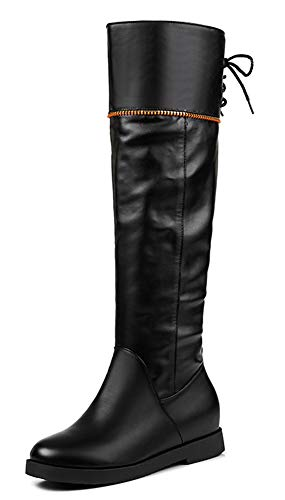 Femme Métal Mode Compensées Bottes Cuissardes Aisun Noir Décoratif Genou qB4Adv