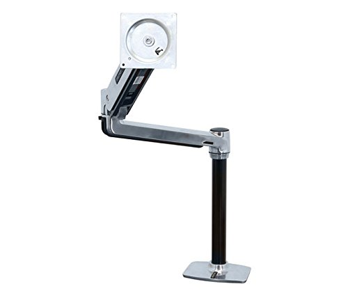 Lcd Pole Kit (Ergotron LX HD Sit-Stand Desk Mount LCD Arm - Mounting kit ( pole, VESA adapter, sit-stand arm, desk clamp base, grommet-mount base ) for LCD display - aluminum - polished aluminum - screen size: up to 46