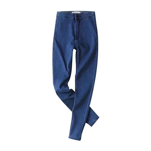 Gamba Alta Larga Autunno Wanyang Denim Casual Pantaloni Primavera Jeans Vita Taglie Donna Blu YTxCqHzw