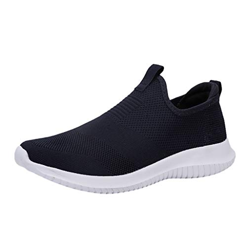 Couple Woven Breathable Casual Sneakers Ultra Light Hollow Soft Bottom Mesh Shoes Athletic Running Walking Gym Lace Up Soft Sole Men Women (Blue, US:9.5-Foot Length:10.6″)