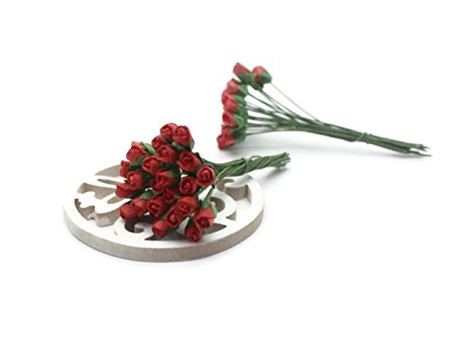 ChangThai Design 50 Red Tiny Rose Scrapbooking Crafts 5mm Mulberry Paper Flower Card Wed Dollhous